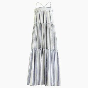 J. Crew Tiered Chambray cover-up dress in stripe